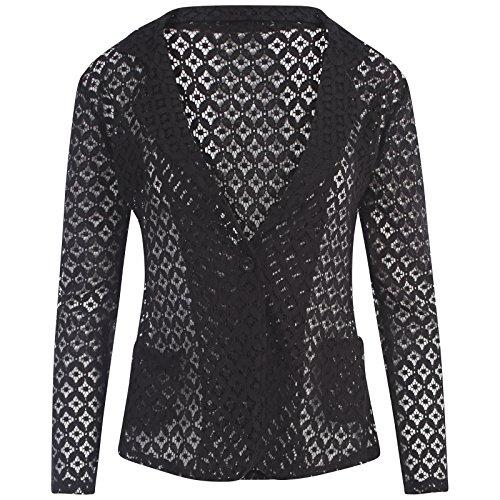 Mujer Encaje Crochet solo botón Blazer mujer manga larga Smart chaqueta de oficina negro