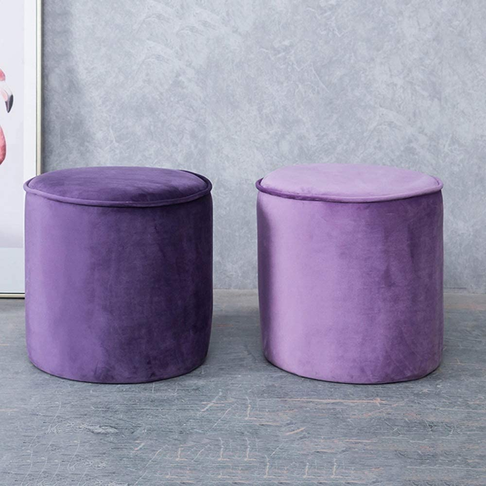 Footstool Entrance Home Children's Fabric Portable Stools Multi-functio Living Room Fashion Creative Sofa Stools Dressing Stool QAF1003 (Color : Black) Dark Purple