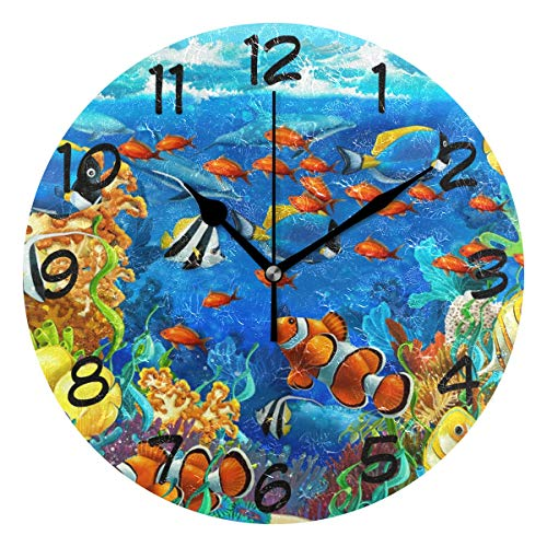 LORVIES Under Water Fishes Wall Clock Silent Non Ticking Acrylic Decorative 10 Inch Round Clock for Home Office ()