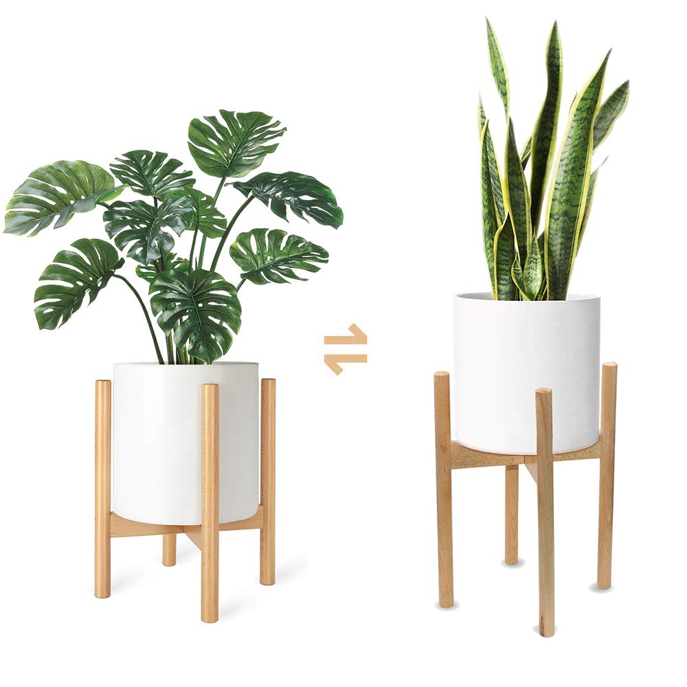Plant Stand Mid Century Wood Flower Pot Holder Display Potted Rack Rustic, up to 10 inch Planter Planter Not Included Wood Color