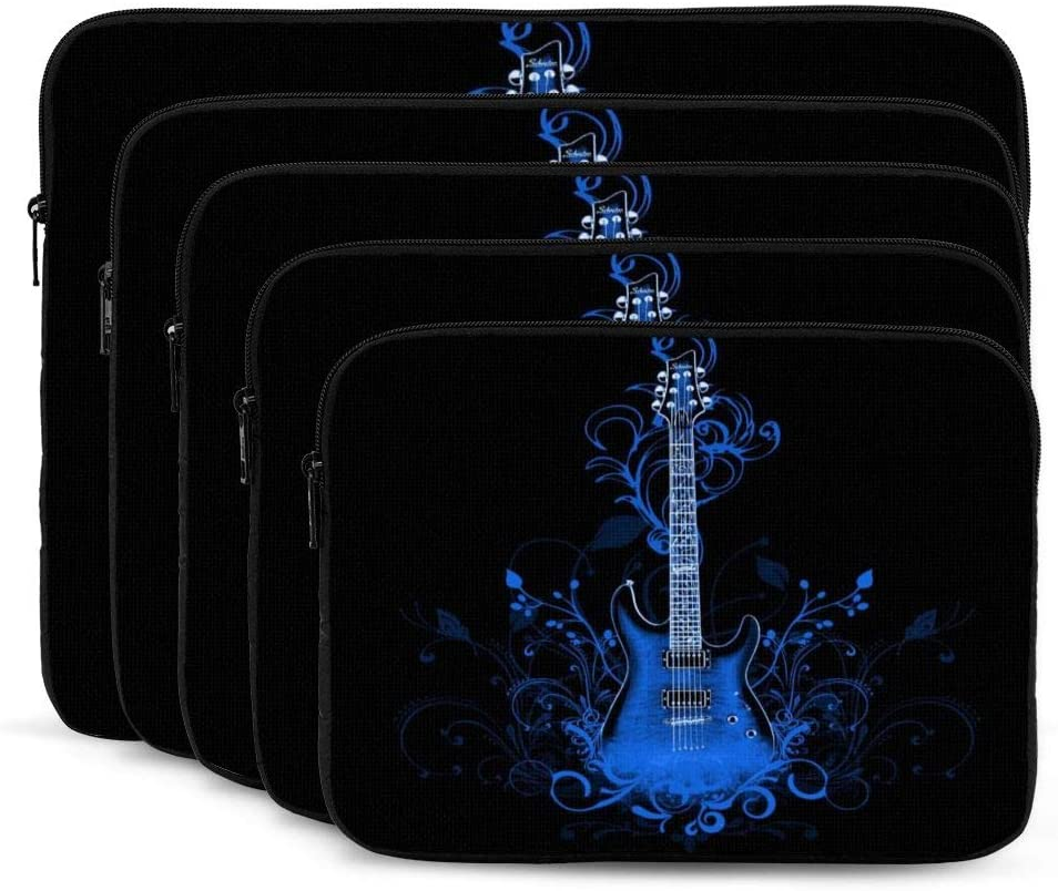 Blue Flower Guitar Print Laptop Sleeve 17 inch, Shock Resistant Notebook Briefcase, Computer Protective Bag, Tablet Carrying Case for MacBook Pro/MacBook Air/Asus/Dell/Lenovo/Hp/Samsung/Sony
