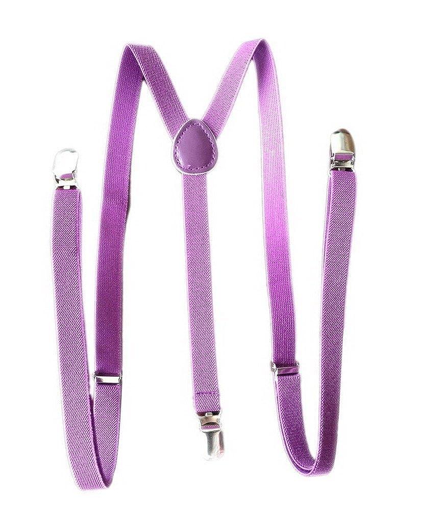 Bigood Baby Toddler Kid Adjustable Elastic Suspenders Y Back Clip Design Purple
