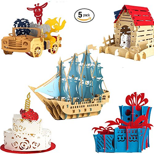 Kids/Adults (5 Pack Bulk Assortment) Premium Handmade 3D Pop Up/Pop-Up Happy Birthday Cards Box Set for wife husband mom dad child daughter son