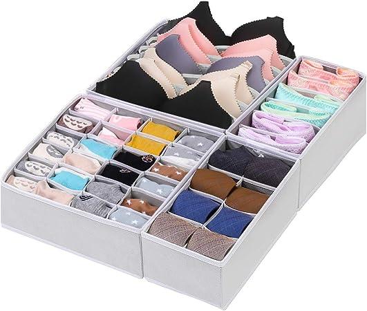 Caja organizadora para ropa interior y calcetines, caja organizadora para armarios, 4 cajas plegables, cajón organizador para sujetadores, calcetines, corbatas, lencería y pequeños (blanco): Amazon.es: Hogar