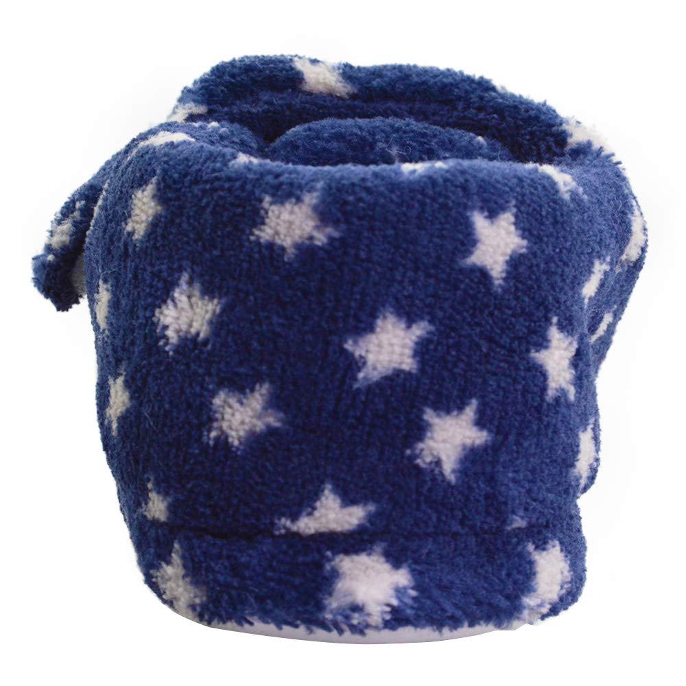 LA PLAGE Kids Warm Soft Faux Fur Lining Little Star Pattern Outdoor Indoor Slippers