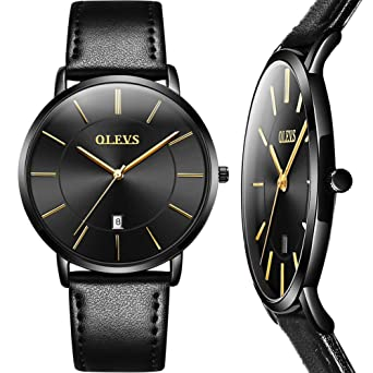 716a53879d6b Men's Watches with Black Face,Black Leather Watches for Men with Calendar, Mens Ultra