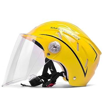 ZXW Casco- Casco de la Motocicleta eléctrica Unisex Verano Media Sombra Medio Casco Cuatro Estaciones de la protección Solar Casco 10 Colores (Color : H): ...