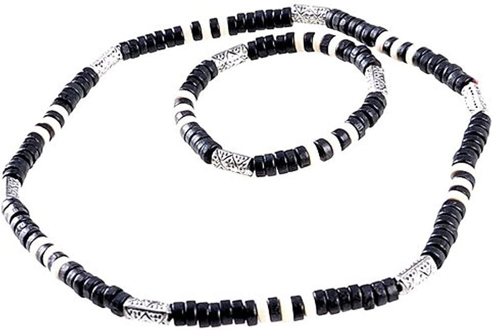 Collar y pulsera de perlas con contrachapado de madera Surfer Beach Look