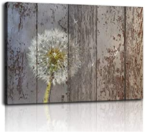 Dandelion Wall Art Poster Rural Home Decor The Dandelion Picture Canvas Art Vintage Wooden Neutral Floral Picture Stretched and Framed Farmhouse Bathroom Decor Wall Art Pictures Living Room Decoration
