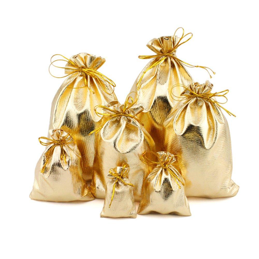 Fashionwu Basic Drawstring Backpack Drawstring Bags Jewelry Earphone Candy Storage Bag 100PCS Golden