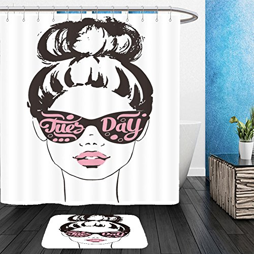 Vanfan Bathroom 2Suits 1 Shower Curtains & 1 Floor Mats women face with sunglasses tuesday fashion girls illustration set 395677549 From Bath room