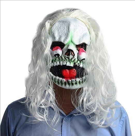 Máscara con Peluca Máscara de Pelo Blanco Horror Halloween Drop Eye Scary Latex Dance Show Dress up Props: Amazon.es: Deportes y aire libre