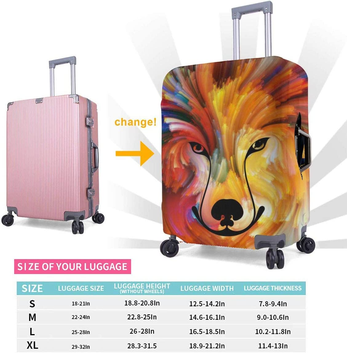 Wolf Art Elastic Travel Luggage Cover,Double Print Fashion Washable Suitcase Protective Cover Fits 18-32inch Luggage