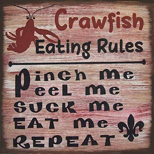 Adonis554Dan Crawfish Eating Rules Cajun Rustic Primitive Country Distressed Wood Sign Home ()