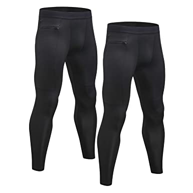 72320e78ea Image Unavailable. Image not available for. Color: Niksa 2 Pack Men's  Compression Pants Cool Dry Gym Workout Running Leggings Baselayer Sports  Tights