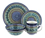 Polish Pottery Mardi Gras 16PC Dinnerware Set