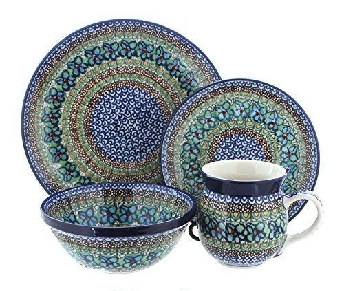 Polish Pottery Mardi Gras 4PC Dinner Set by Ceramika Artystyczna