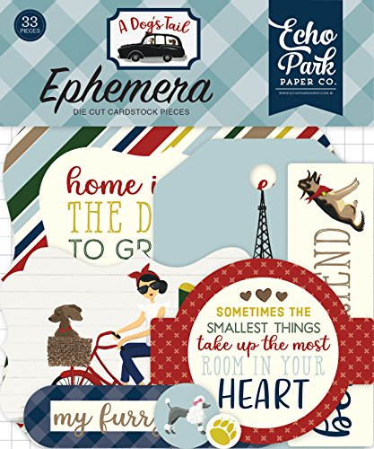 Echo Park Paper Company ADT155024 A A Dog's Tail Ephemera Paper Die Cut, Yellow/Red/Navy/Sky Blue/Brown/Green