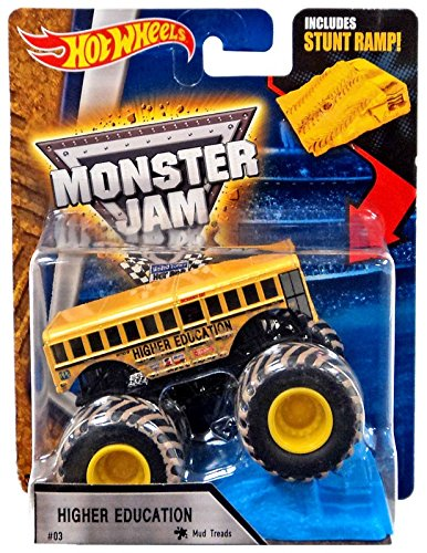 Hot Wheels 1 64 Monster Jam Higher Education With Mud Treads  03 Includes Stunt Ramp