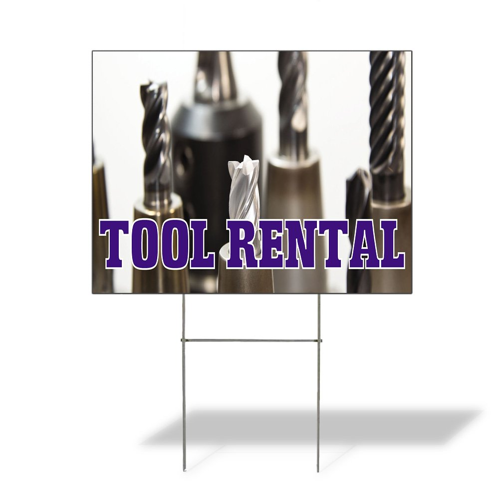 Tool Rental #2 Outdoor Lawn Decoration Corrugated Plastic Yard Sign - 12inx18in, Free Stakes by Sign Destination (Image #1)