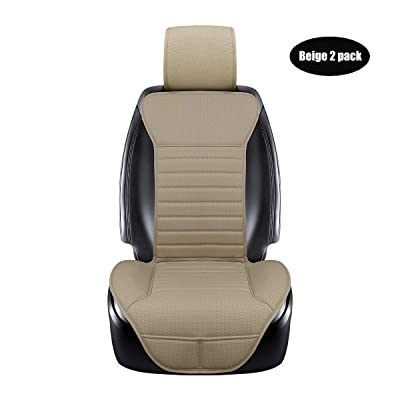 DINKANUR Breathable PU Leather Auto Universal Car Seat Covers Car Interior Driver and Passenger Seat Cover Car Seat Cushions for Cars (2 PCS) (Beige-B): Home & Kitchen