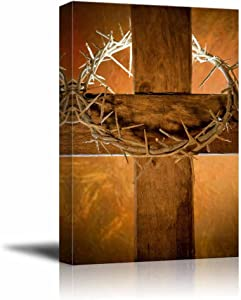 wall26 - Canvas Prints Wall Art - Crown of Thorns Hanging on a Wooden Cross at Easter | Modern Wall Decor/Home Decoration Stretched Gallery Canvas Wrap Giclee Print. Ready to Hang - 24