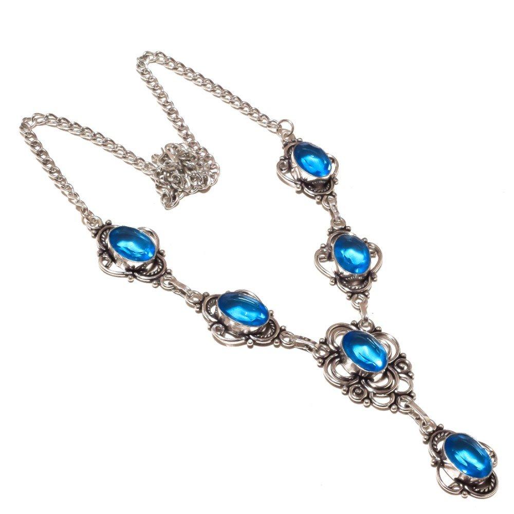 London Blue Topaz Quartz Sterling Silver Overlay 31 Grams Necklace 17-18 Desginer