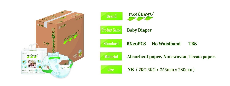 NATEEN Baby Care Premium Nouveau né (2 à 5 kg) 160 langes (8x20): Amazon.es: Salud y cuidado personal