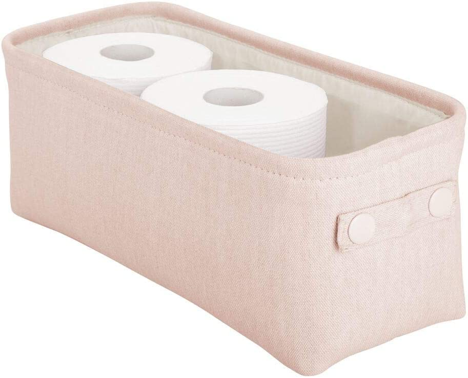 mDesign Soft Cotton Fabric Bathroom Storage Bin with Coated Interior and Attached Handles - Organizer for Towels, Toilet Paper Rolls - For Back of Toilet, Cabinets, and Vanities - Light Pink/Blush