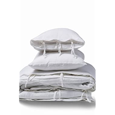 meadow park Stone Washed Linen Duvet Cover Set 3 Pieces, King Size 104  x 94 , Pillow Shams 20  x 36 , Ties Closure Style - Corner Ties - Super Soft, White