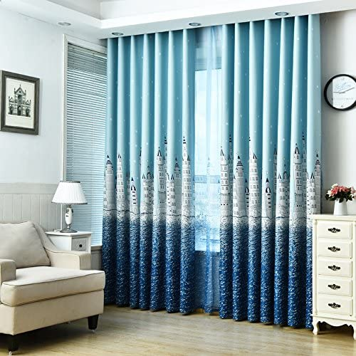 MYRU 1 Pair Castle Dining Room Curtains,Kids Semi Blackout Curtains,Canals in Venice,Room Decor for Childrens Bedroom 2 x 54×84 Inch