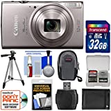 Canon PowerShot Elph 360 HS Wi-Fi Digital Camera (Silver) 32GB Card + Case + Battery + Tripod + Kit