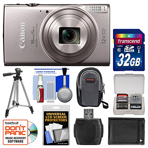 Canon PowerShot Elph 360 HS Wi-Fi Digital Camera (Silver) with 32GB Card + Case + Battery + Tripod + (Dc200 Memory)