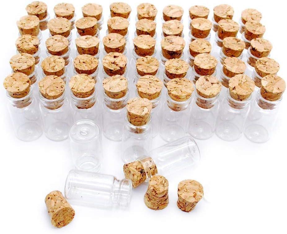 Danmu Art - Juego de 50 frascos de Cristal pequeños de 1 ml, 11 mm x 22 mm, con Tapones de Corcho