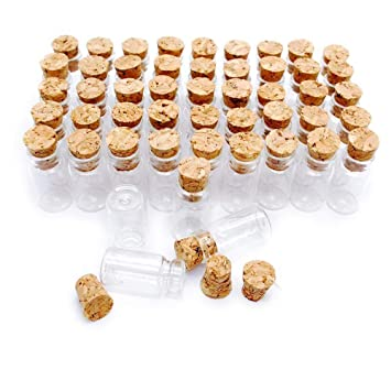 danmu arte 50pcs Pequeño, 1 ml Mini botellas de vidrio tarros con tapón de corcho
