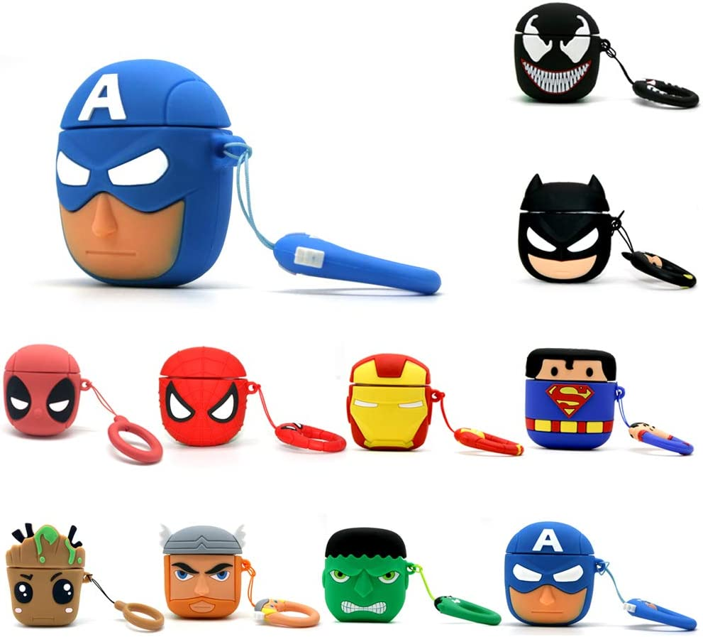 Artibox Airpods 1/&2 Case 3D Cartoon Silicone Airpods Cover Batman Shockproof Protective Earphone Cover Skin Compatible with Apple Airpods 1/&2