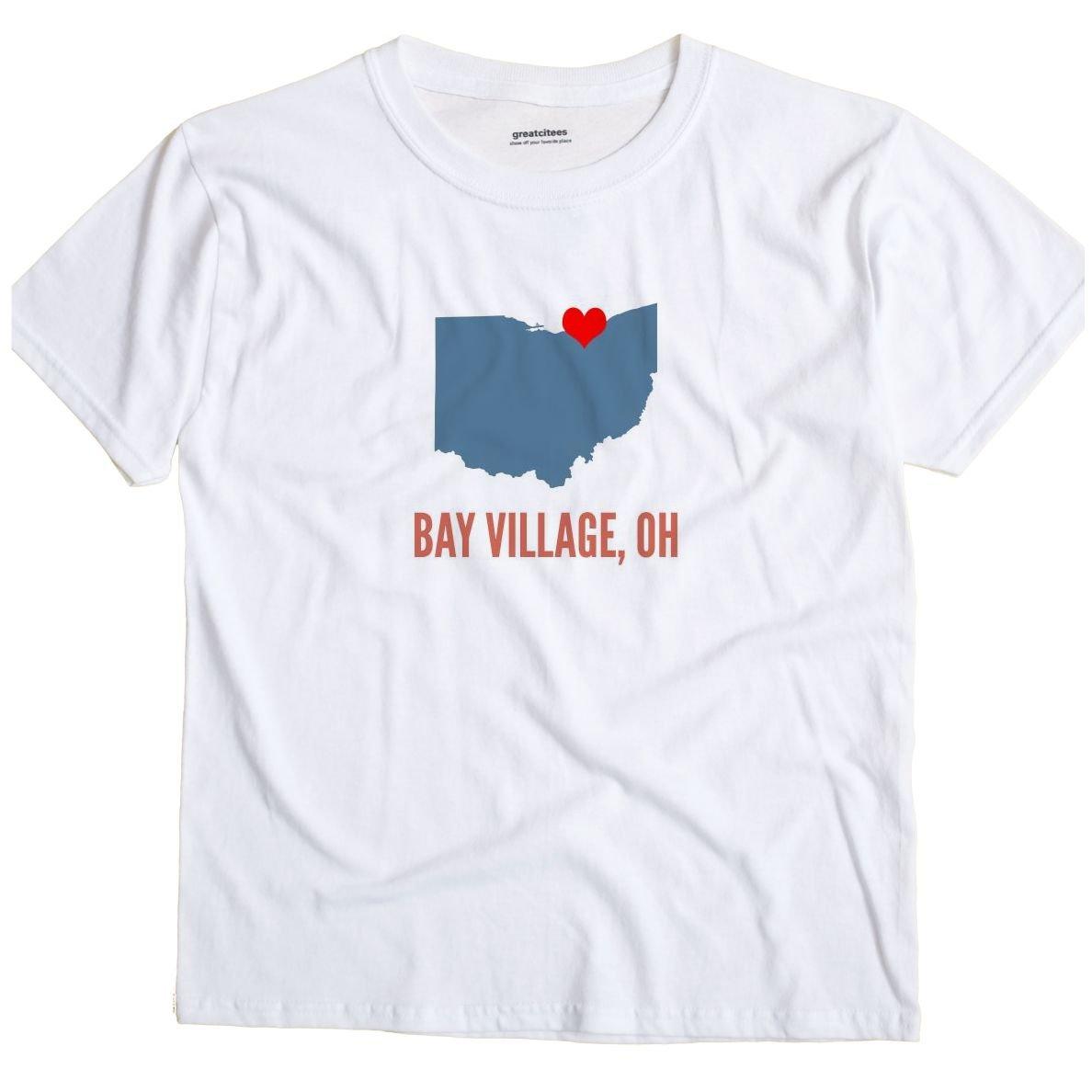 Greatcitees Bay Village Ohio Oh Heart Unisex Souvenir T Shirt