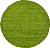 Unique Loom Solid Shag Collection Grass Green 6 ft Round Area Rug (6' x 6')