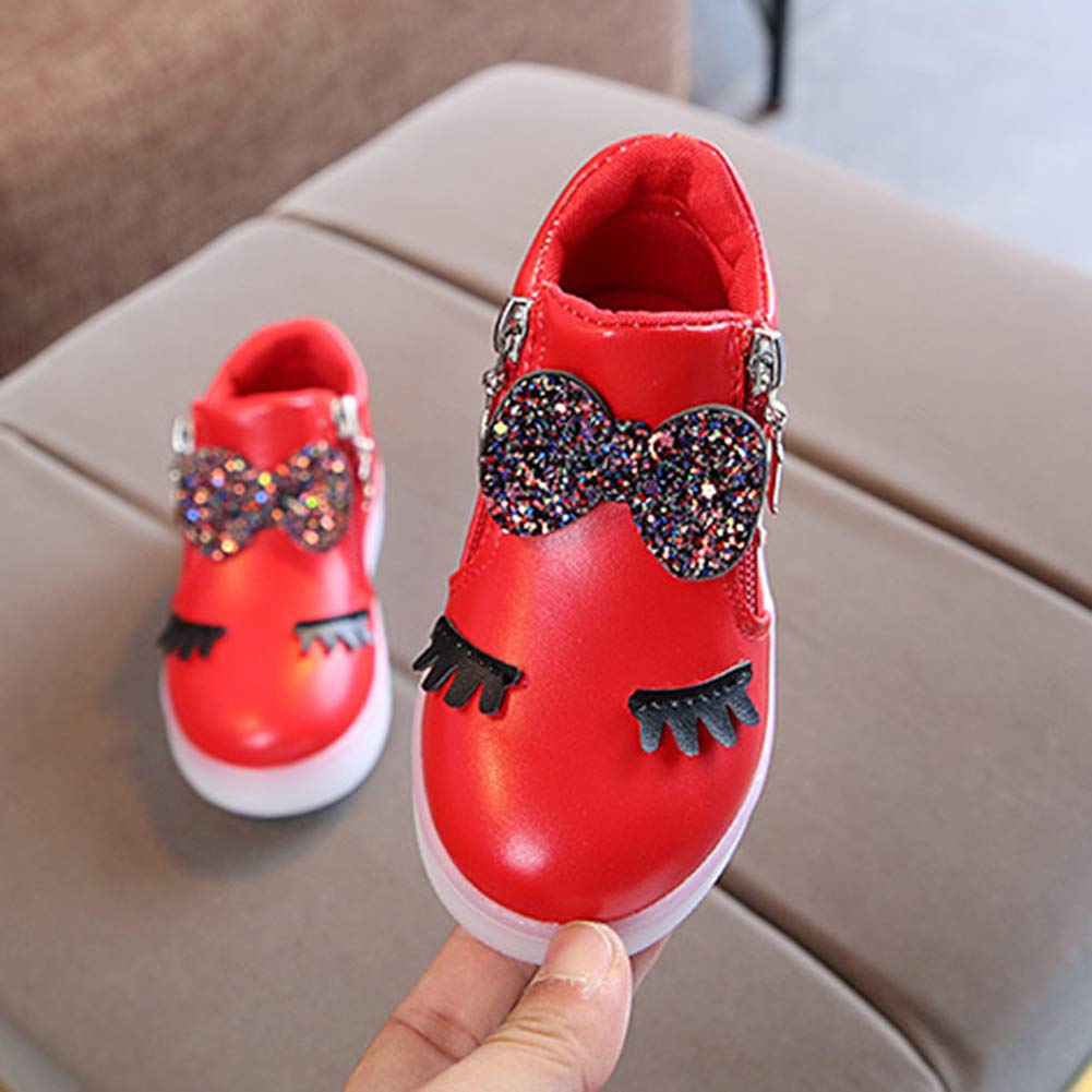 Alamana Fashion Kids Girls Rhinestone Bowknot LED Light Anti-Slip Casual Shoes Gift Pink 21