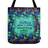 Society6 FEARFULLY AND WONDERFULLY MADE Floral Christian Typography God Bible Scripture Jesus Psalm Abstract Tote Bag 16'' x 16''