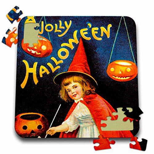 Scenes from the Past Ephemera - A Jolly Halloween Vintage Early 1900s Holiday Postcard Little Witch - 10x10 Inch Puzzle (Halloween Early 1900s)