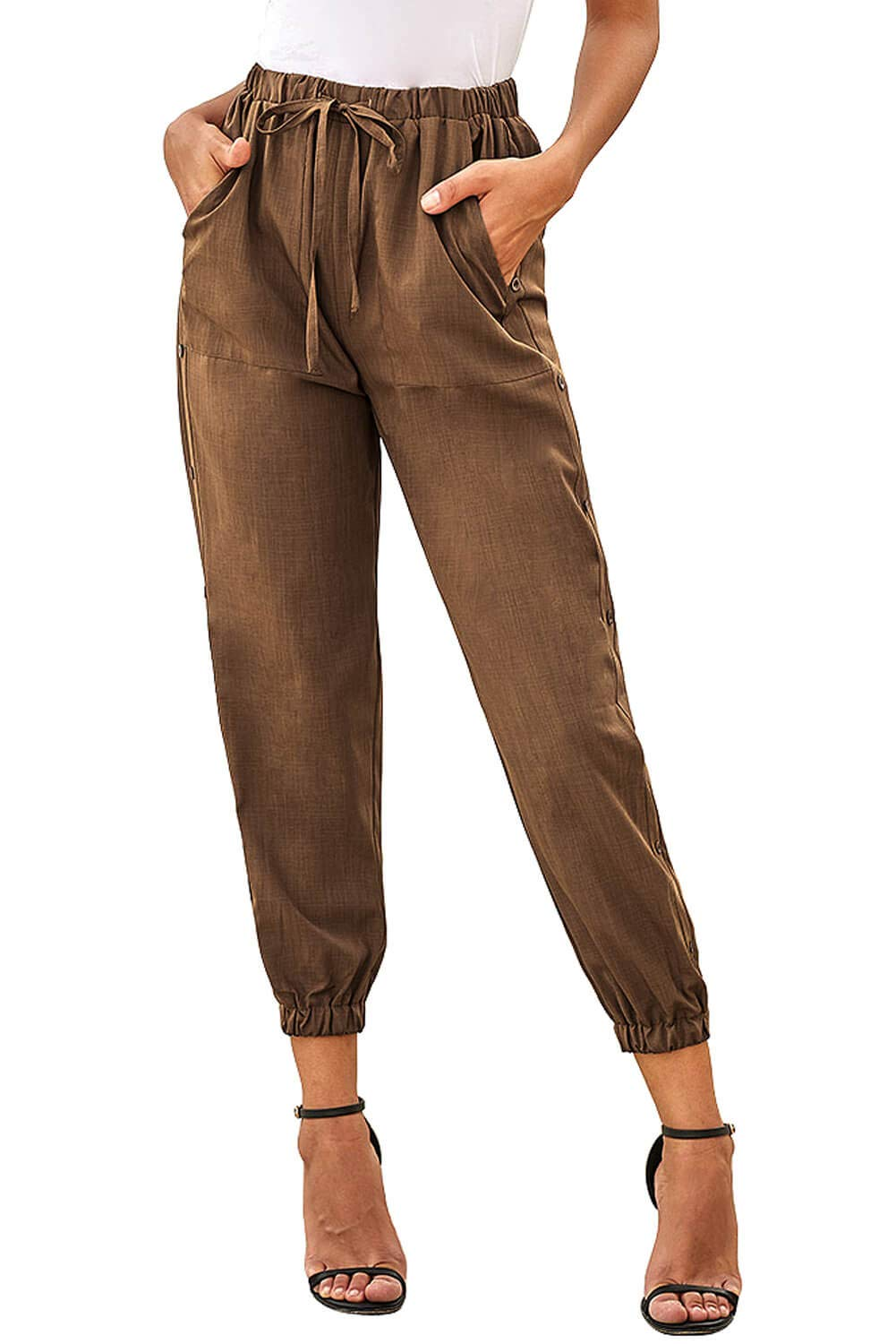 NEWFANGLE Women's Linen Casual Pants Drawstring Elastic Waist with Pockets Solid Comfy Loose Fit Trousers,Brown,L