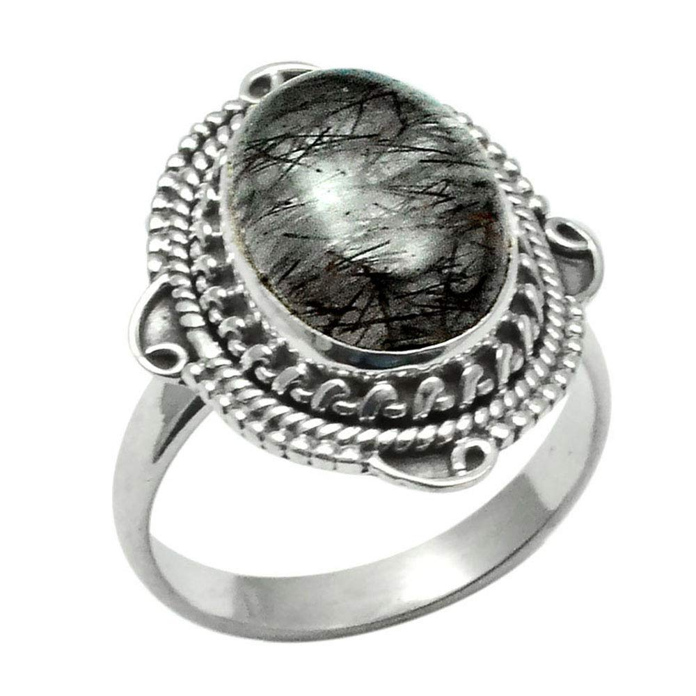 8.5 NiaoZaiFei YunZaiKan Genuine Black Rutile Ring 925 Sterling Silver,USA Size 2SR0300