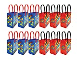 Superhero Text Party Favor Treat Bags, 12 Pack