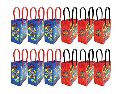 (Superhero Text Party Favor Treat Bags, 12 Pack)
