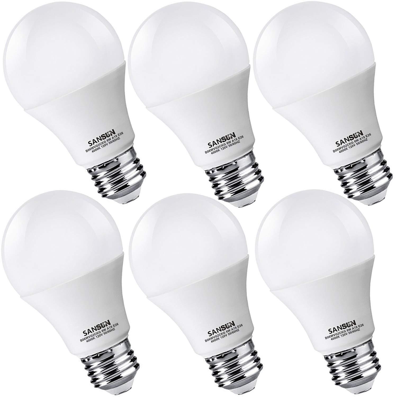 A19 LED Light Bulbs 60 Watt Equivalent, SANSUN 4000K Daylight Glow, Non-Dimmable, 6-Pack