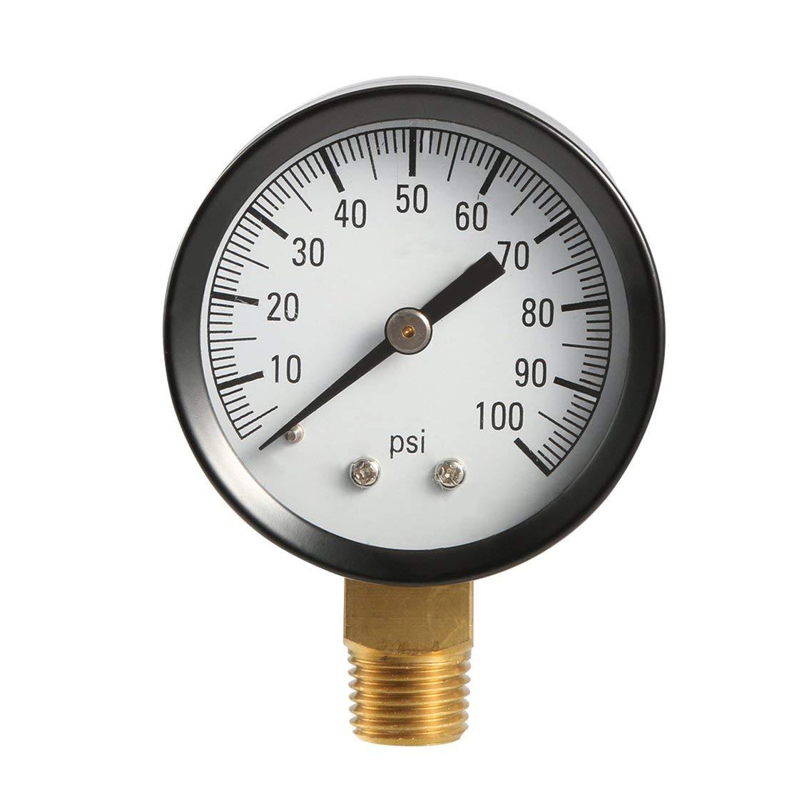 Profesional 1305 0-100 PSI 1//4 pulgadas NPT macho bomba de pozo Man/ómetro de presi/ón de aire man/ómetro de presi/ón de aire TS50-100PSI