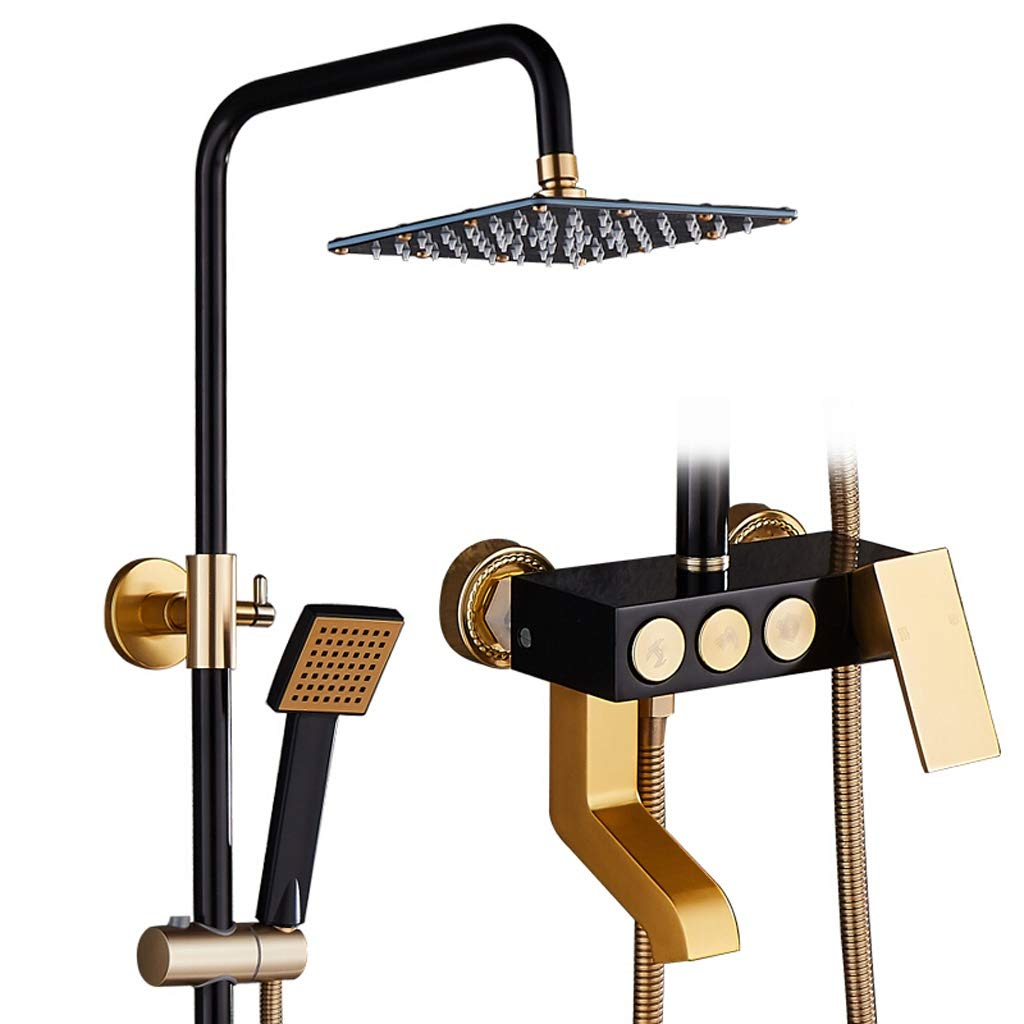 "LXN European Style Black Golden Shower System, with 8"" Rain Showerhead,3-Function Faucet, Adjustable Slide Bar, Polished Chrome Finish (Size : B)"