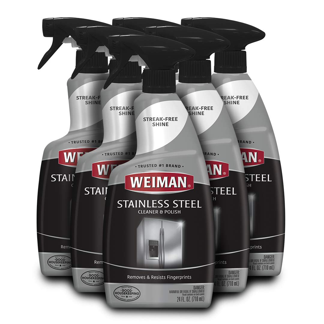 Weiman Stainless Steel Cleaner and Polish - 22 Ounce [6 Pack] - Protects Appliances from Fingerprints and Leaves a Streak-Free Shine for Refrigerator Dishwasher Oven Grill etc