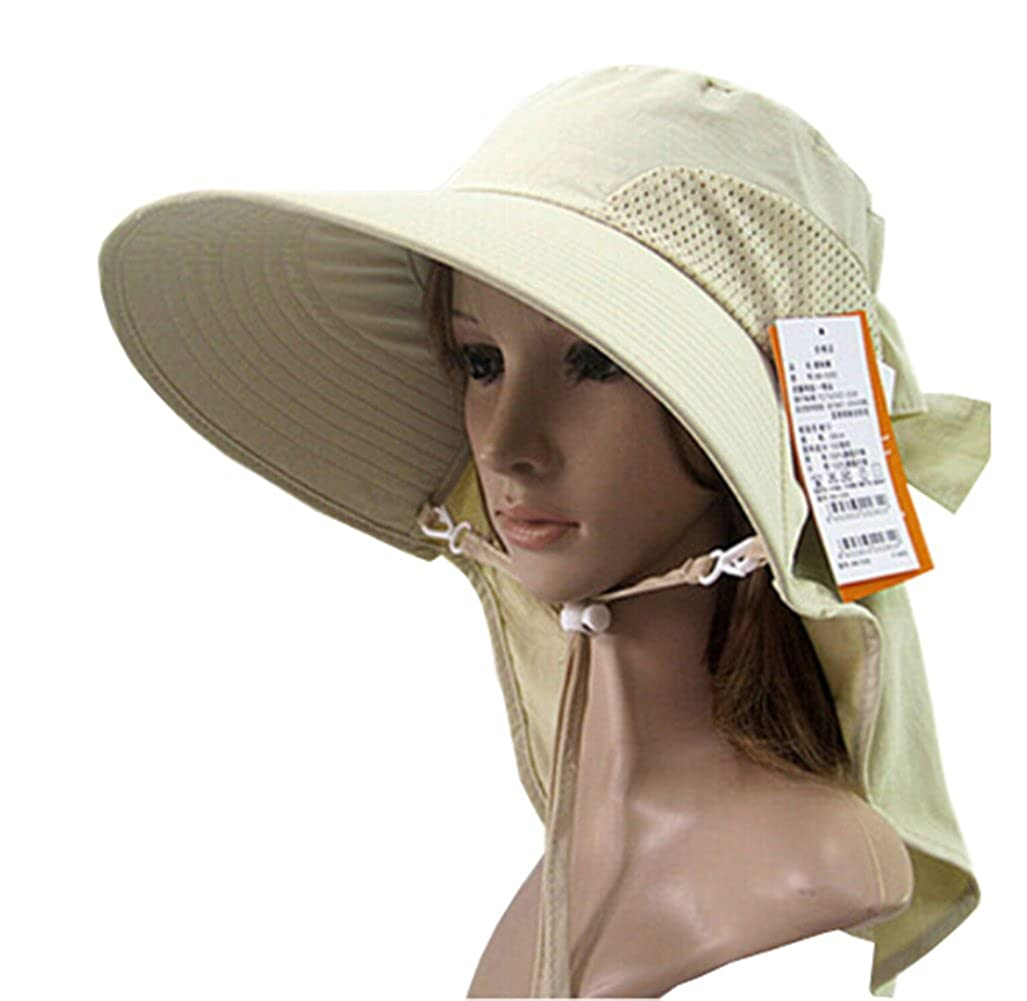 0bd4d94251d KM Women Outdoor UV Protection Sun Shade Wide Brim Sun Hat Beach Hat  Without Ponytail Opening M (Beige) at Amazon Women s Clothing store